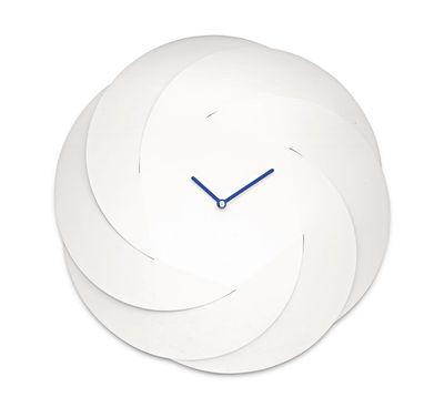 Déco - Horloges  - Horloge murale Infinity Clock / Ø 42 cm - Alessi - Blanc / Aiguilles bleues - Acier