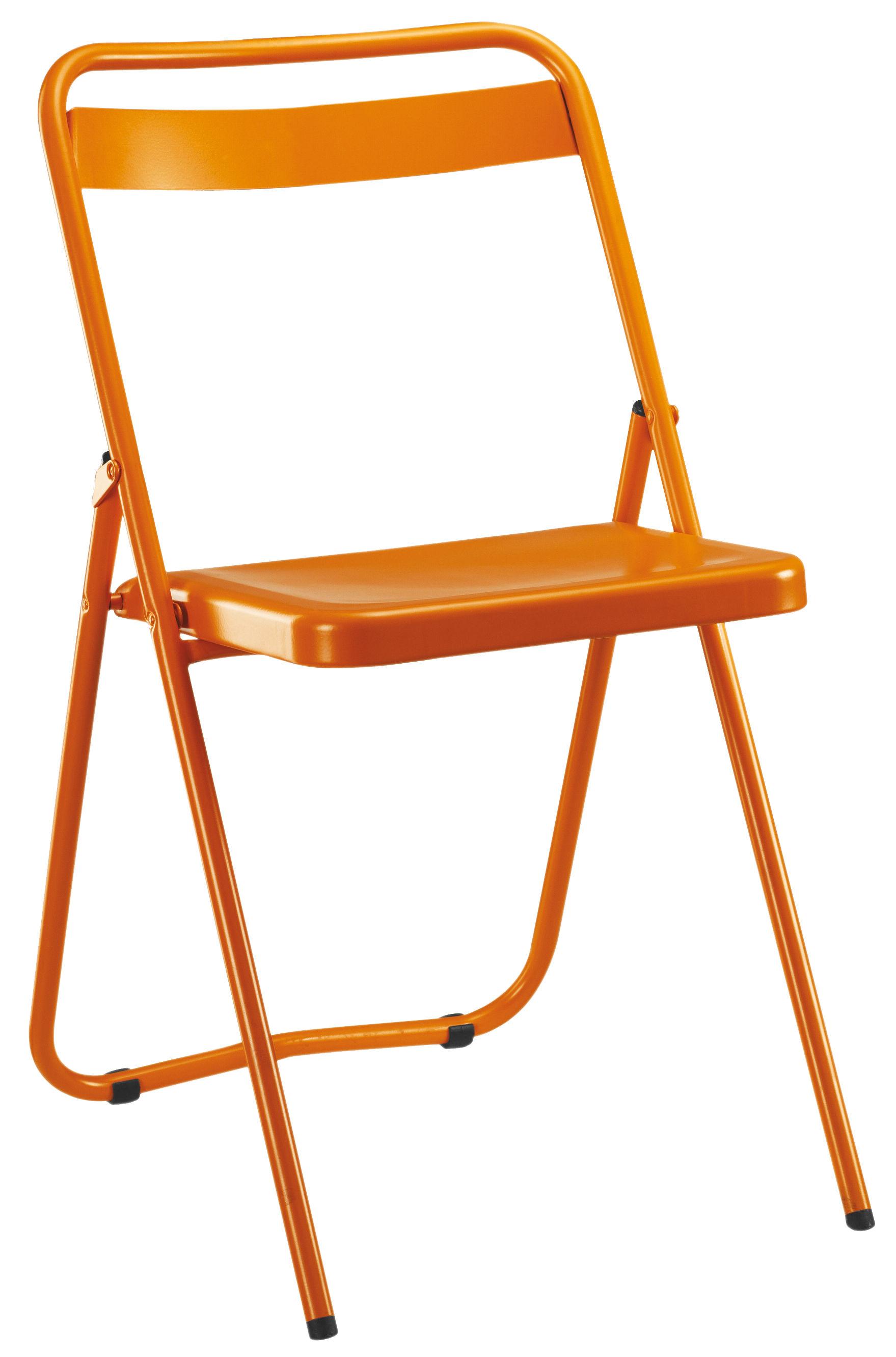 chaise pliante ds n 7 acier peint orange souvignet design. Black Bedroom Furniture Sets. Home Design Ideas
