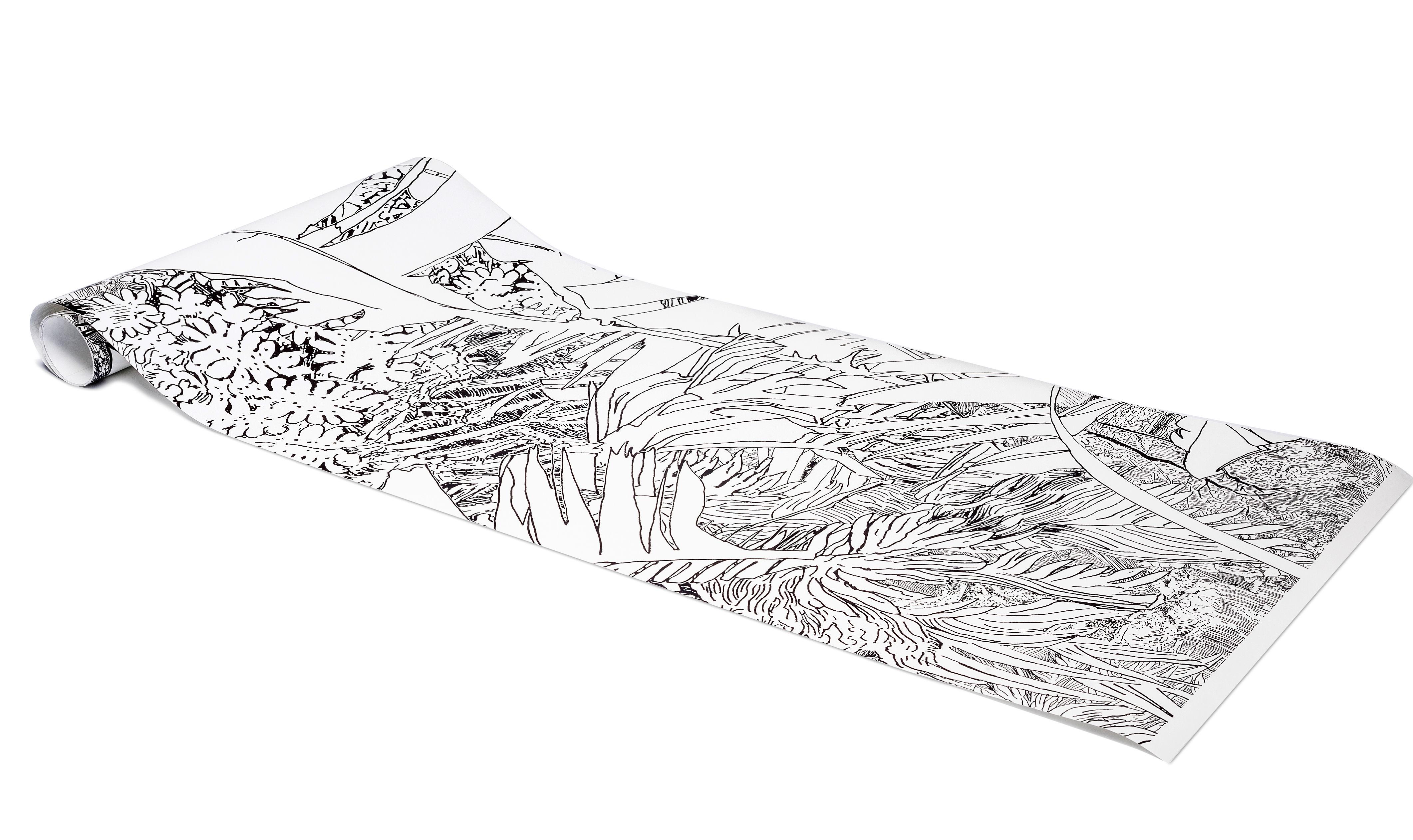 Papier peint jungle 2 1 rouleau larg 48 cm noir fond blanc petite friture - Dimension rouleau papier peint ...