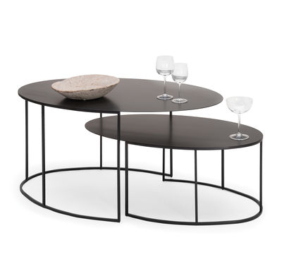 table basse slim irony ovale h 42 cm 86 x 54 cm noir cuivr zeus. Black Bedroom Furniture Sets. Home Design Ideas
