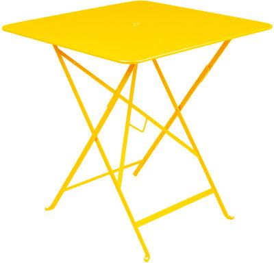 Table pliante Bistro 71 x 71 cm Trou pour parasol Fermob miel en métal