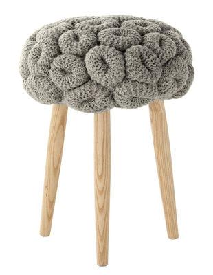 Mobilier - Tabourets bas - Tabouret Knitted Ø 35 x H 52 cm - Gan - Gris / Frêne - Frêne, Laine  vierge