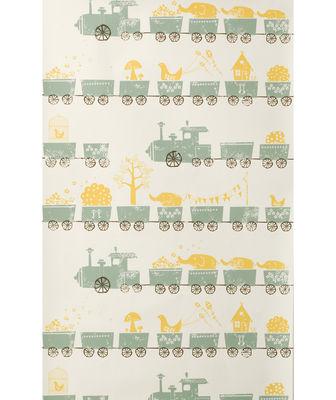 papier peint tiny train 1 rouleau larg 53 cm jaune orang vert amande marron ferm living. Black Bedroom Furniture Sets. Home Design Ideas