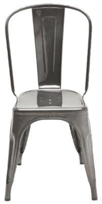 Foto Sedia impilabile A - / Inox - Per l'esterno di Tolix - Acier brut verni gris lasure - Metallo