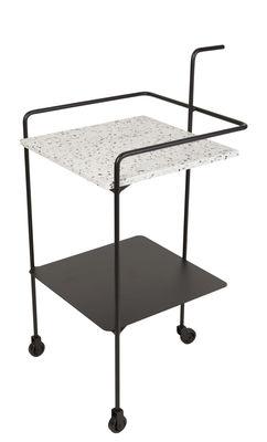 Mobilier - Compléments d'ameublement - Desserte Confetti / Terrazzo & métal - OK Design pour Sentou Edition - Noir / Plateau noir & blanc - Métal laqué époxy, Terrazzo