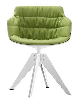 Mobilier - Chaises, fauteuils de salle à manger - Fauteuil pivotant Flow Slim / Rembourré / 4 pieds VN acier - MDF Italia - Tissu vert / Coque blanche / Pieds blancs - Acier peint, Polycarbonate, Tissu