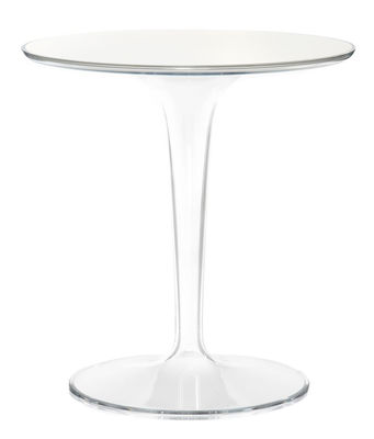 Table d´appoint Tip Top Glass / Plateau verre - Kartell blanc en verre