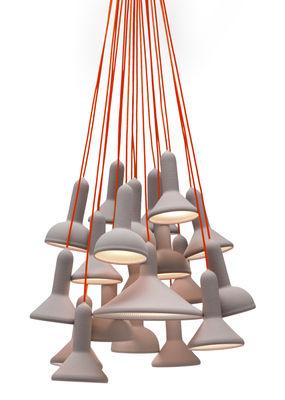 Suspension Torch Light 20 abat jours Established Sons gris en matière plastique