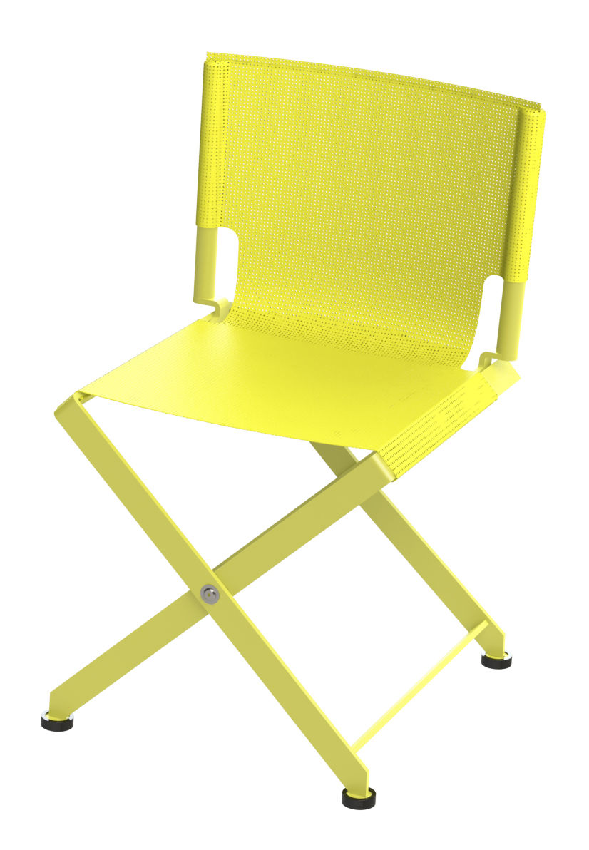 chaise pliante zephir assise toile indoor outdoor jaune mati re grise. Black Bedroom Furniture Sets. Home Design Ideas