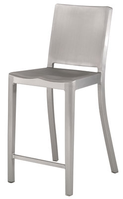 Furniture - Bar Stools - Hudson Outdoor Bar chair - H 61 cm - Metal by Emeco - Brushed aluminium - Brushed aluminium