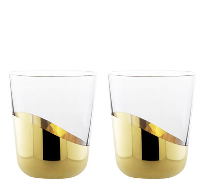 Tableware - Wine Glasses & Glassware - Midas Wine glass - 2 wine glasses gold lower by Skitsch - Clear & gold - Gold, Mouth blown glass