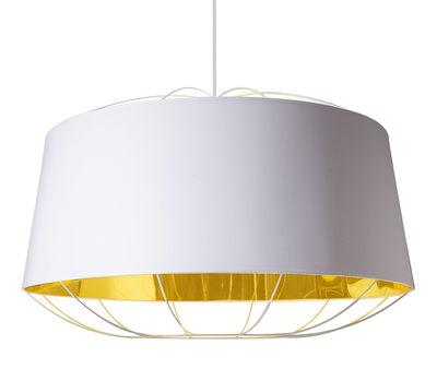 Luminaire - Suspensions - Suspension Lanterna Large / Ø 75 x H 49 cm - Petite Friture - Blanc / Or - Acier laqué, Coton, PVC