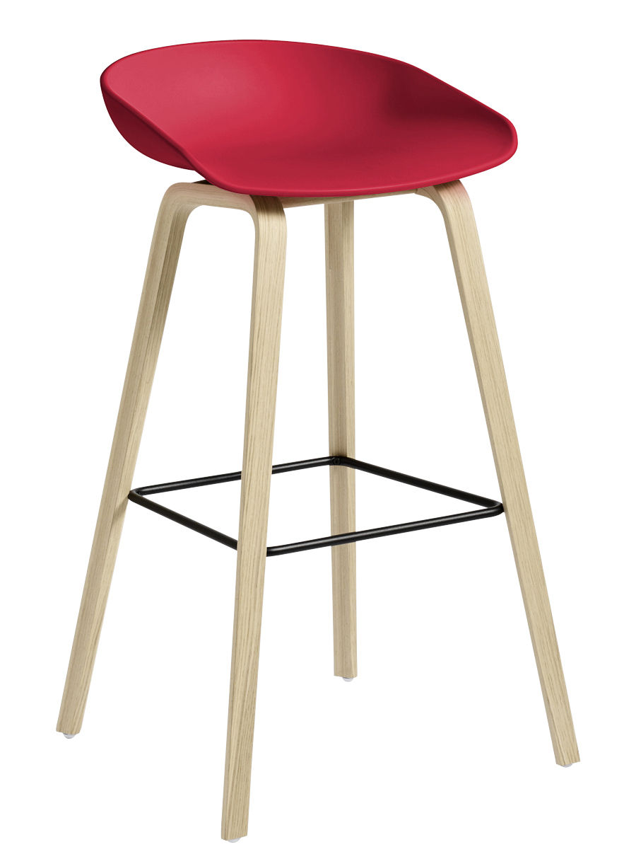 tabouret de bar about a stool aas 32 h 75 cm plastique pieds bois c. Black Bedroom Furniture Sets. Home Design Ideas
