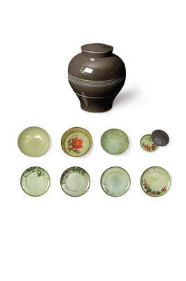service de table yuan 8 pi ces empilable gris motifs verts yuan ibride. Black Bedroom Furniture Sets. Home Design Ideas
