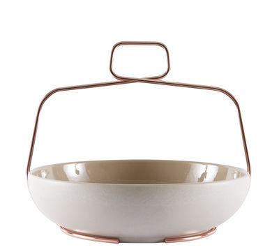 Arts de la table - Plats - Coupe Muselet / Ø 26 cpm - Poignée cuivre - Incipit - Gris tourterelle - Céramique, Cuivre