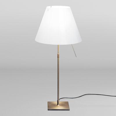 Luminaire - Lampes de table - Lampe de table Costanza Bronze / H 76 à 110 cm - Edition Limitée - Luceplan - Blanc / Pied bronze - Aluminium peint, Polycarbonate