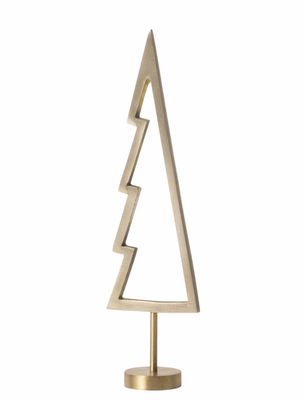 Déco - Objets déco et cadres-photos - Décoration de Noël Tree Outline / Sapin en laiton - H 18 cm - Ferm Living - Sapin silhouette / Laiton - Laiton massif