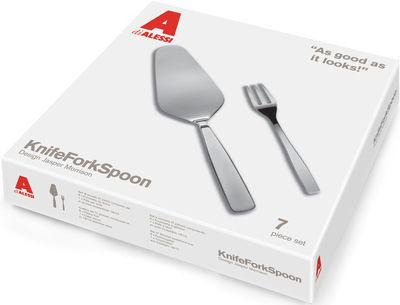 Set de couverts KnifeForkSpoon / Pelle à tarte + 6 fourchettes à gateaux - A di Alessi acier brillant en métal