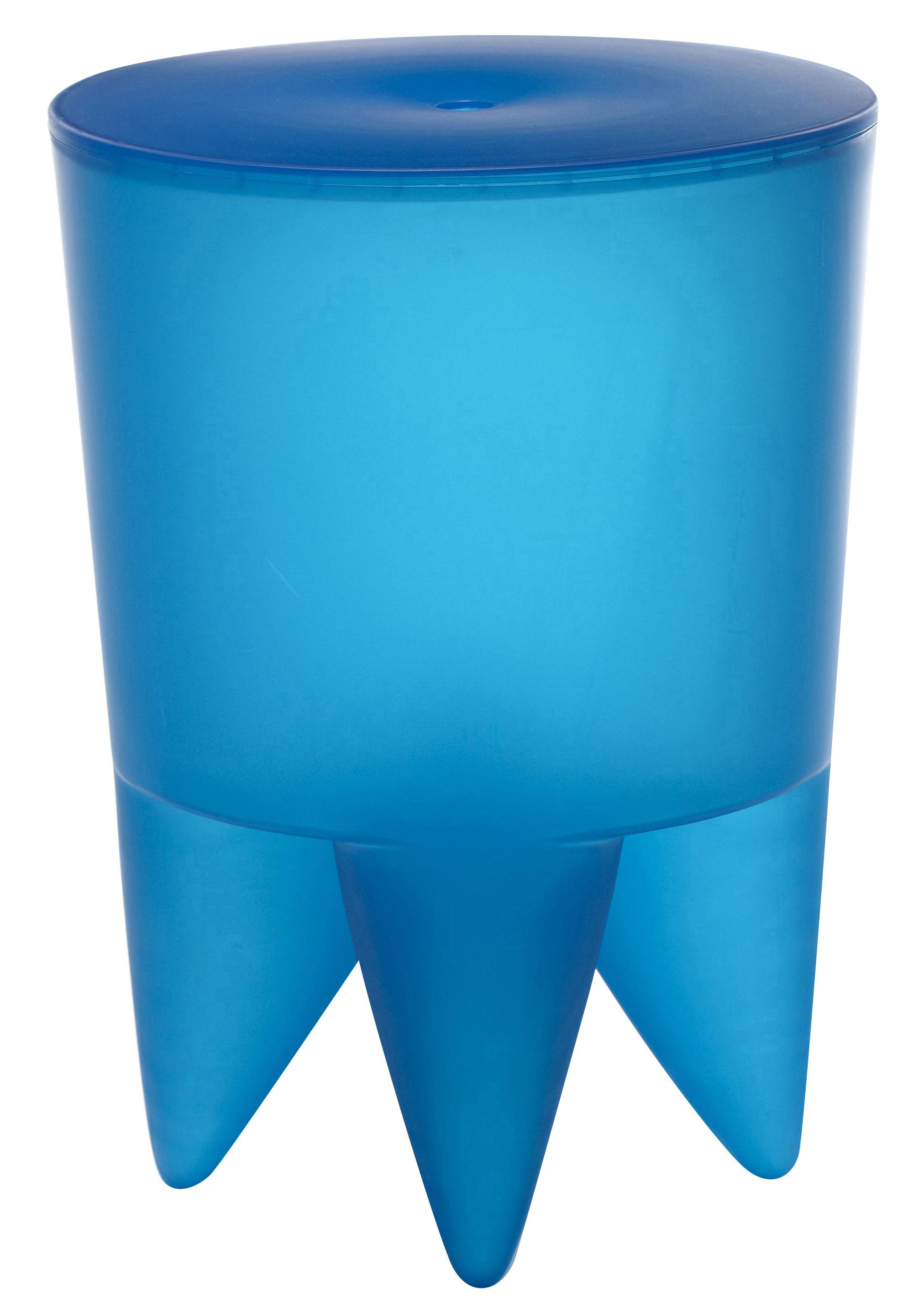tabouret new bubu 1er coffre plastique azure translucide xo. Black Bedroom Furniture Sets. Home Design Ideas