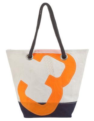 Accessoires - Sacs, trousses, porte-monnaie... - Cabas Sam / Dacron® - Voile bateau recyclée - 727 Sailbags  - Bleu & blanc / Chiffre orange - Tissu acrylique, Voile Dacron®