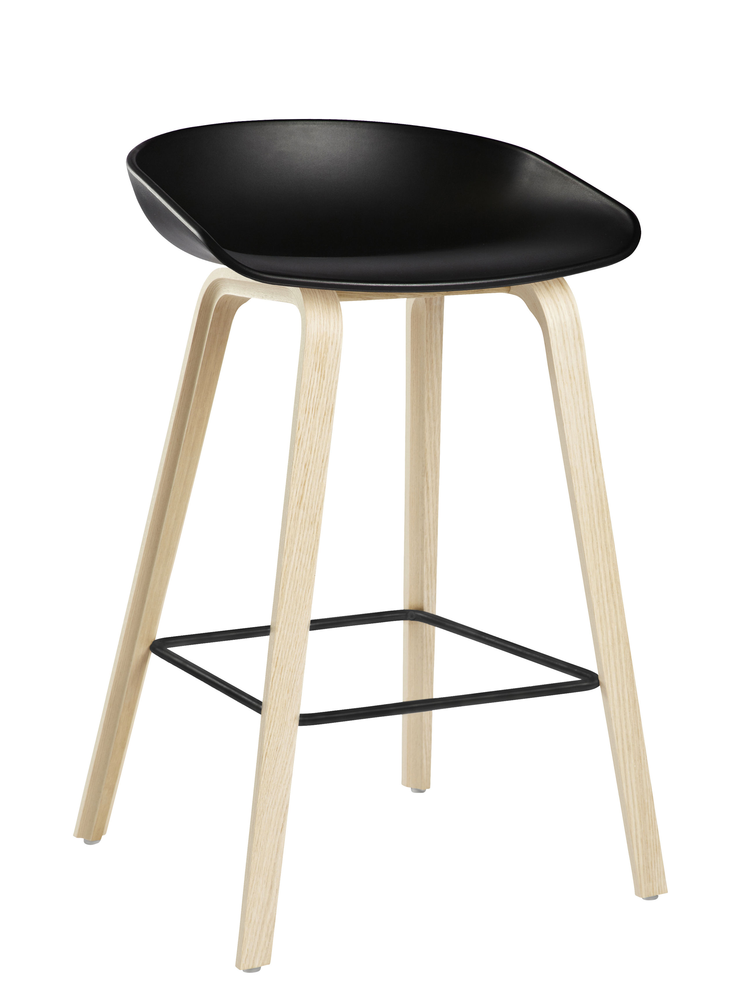 tabouret de bar about a stool aas 32 h 65 cm plastique pieds bois noir pieds bois. Black Bedroom Furniture Sets. Home Design Ideas