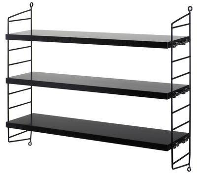 etag re string pocket l 60 x h 50 cm noir laqu montants noirs string furniture. Black Bedroom Furniture Sets. Home Design Ideas