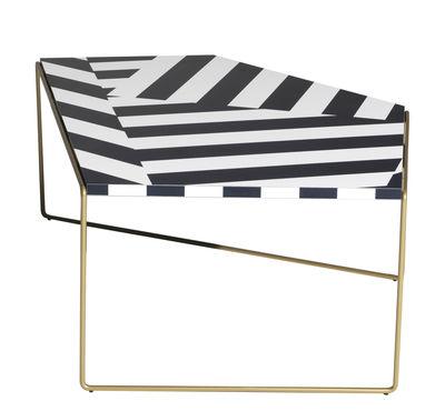 Tavolino Zagazig - / 87 x 113 cm x H 47 cm di Driade - Bianco,Nero,Oro - Metallo