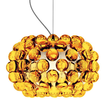 Lighting - Pendant Lighting - Caboche Piccola Pendant - Piccola by Foscarini - Amber - Ø 31 cm - PMMA