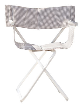 Möbel - Stühle  - Snooze Directeur Klappsessel - Emu - Weiß - gefirnister Stahl, Tissu technique