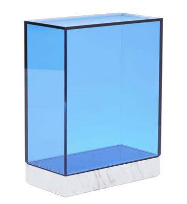 Accessoires - Accessoires salle de bains - Boîte Lid Tall / Marbre & verre - Tom Dixon - Marbre blanc / Bleu - Marbre, Verre