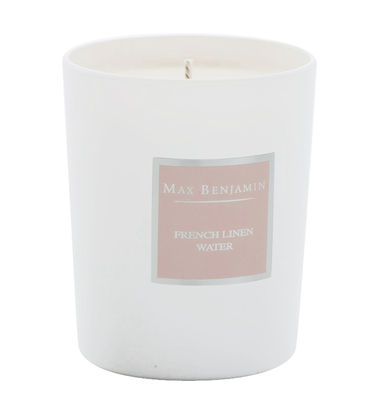 Bougie parfumée Eau de linge française - 190gr - Max Benjamin blanc,rose en verre