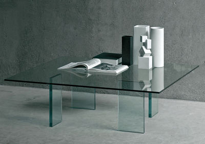 Furniture - Coffee Tables - Glass table Coffee table - 120 x 120 cm by Glas Italia - Transparent - Cristal