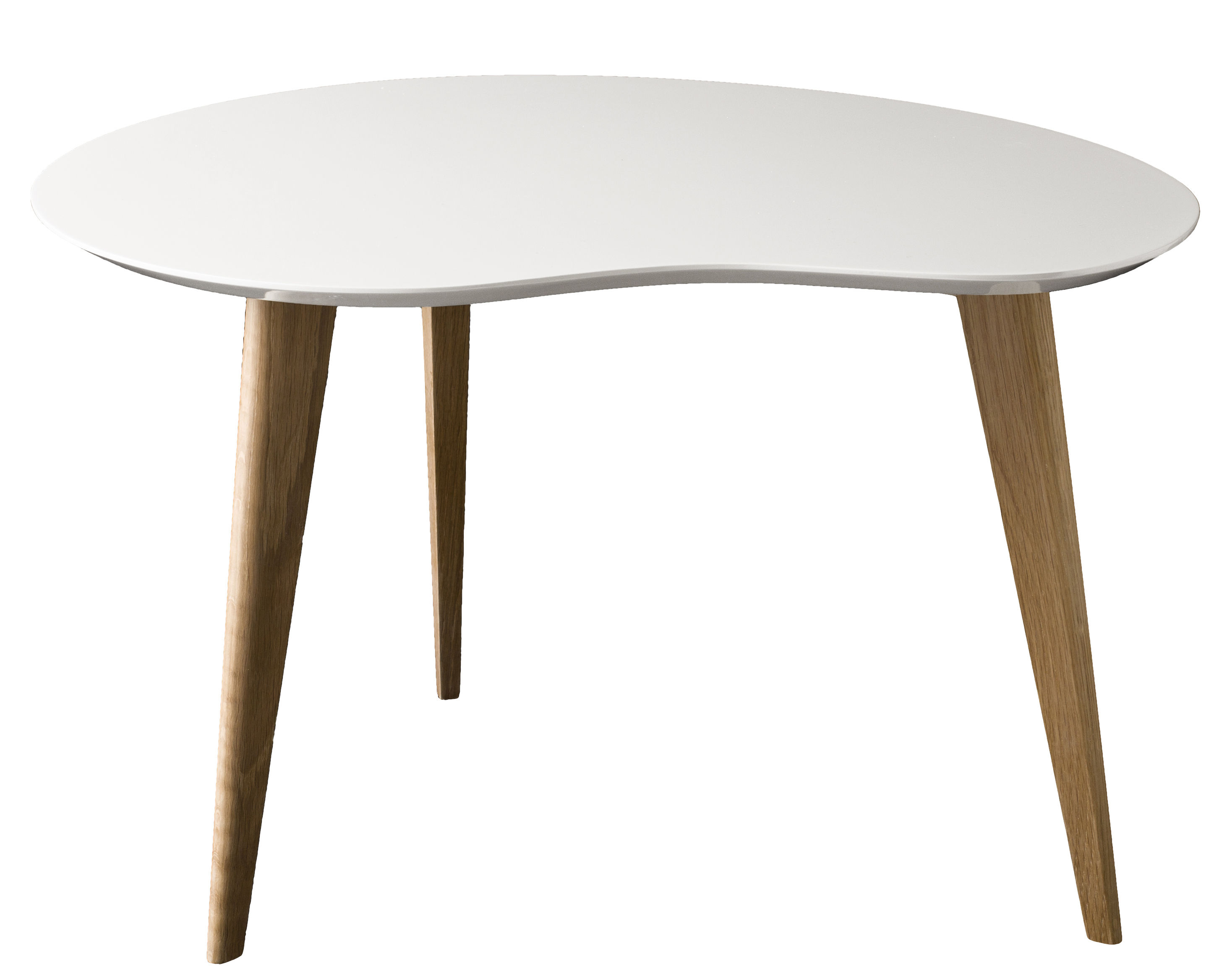 Table basse lalinde haricot large blanc pieds ch ne for Table basse haricot