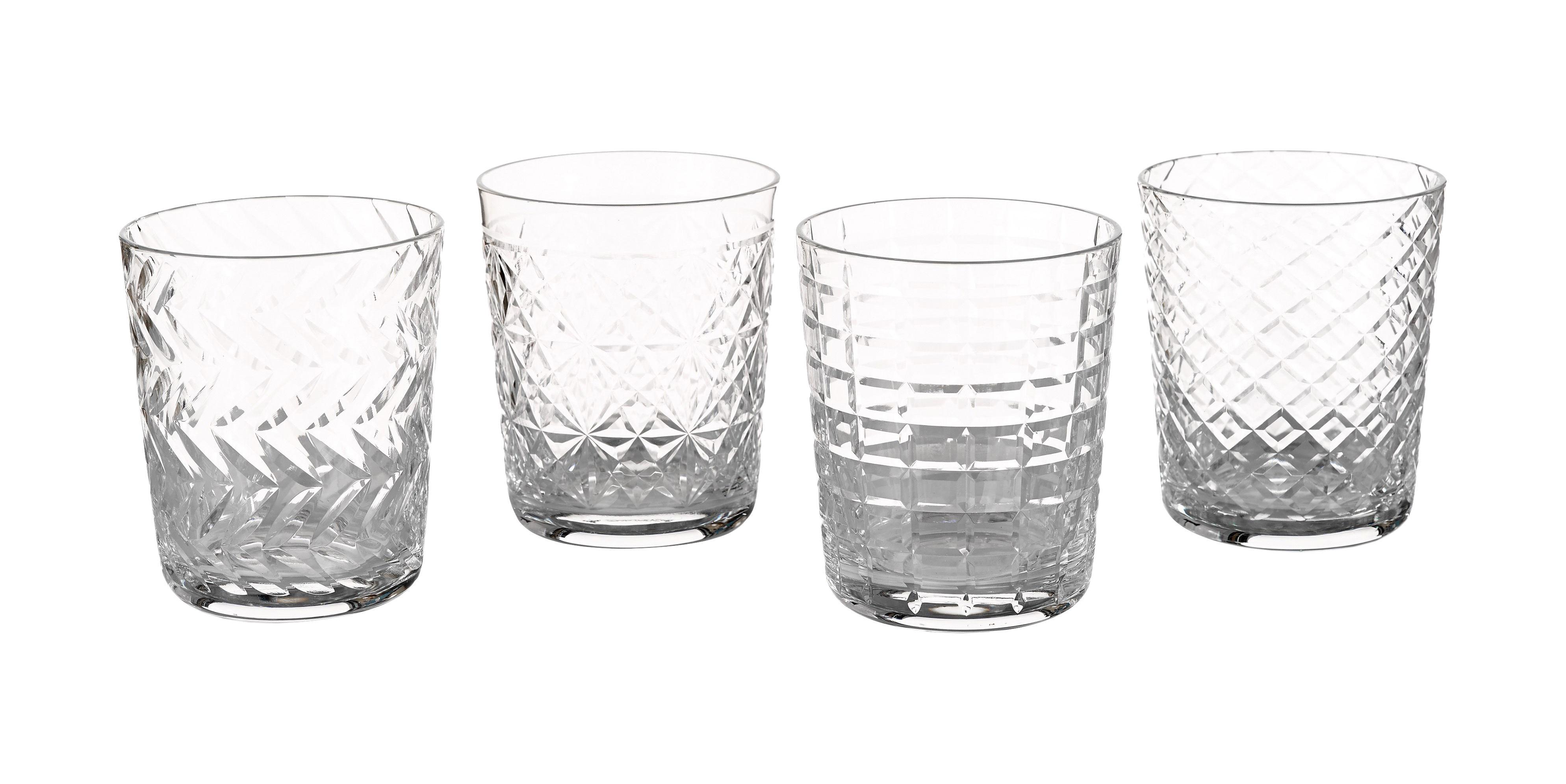 cuttings glas 4er set reliefmuster transparent by pols potten made in design. Black Bedroom Furniture Sets. Home Design Ideas