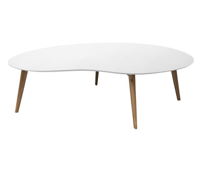 Table basse Lalinde XXL haricot / L 130cm / Pieds bois - Sentou Edition blanc,chêne en bois