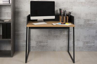 Bureau d appoint design pieds croisés en métal noir et chêne