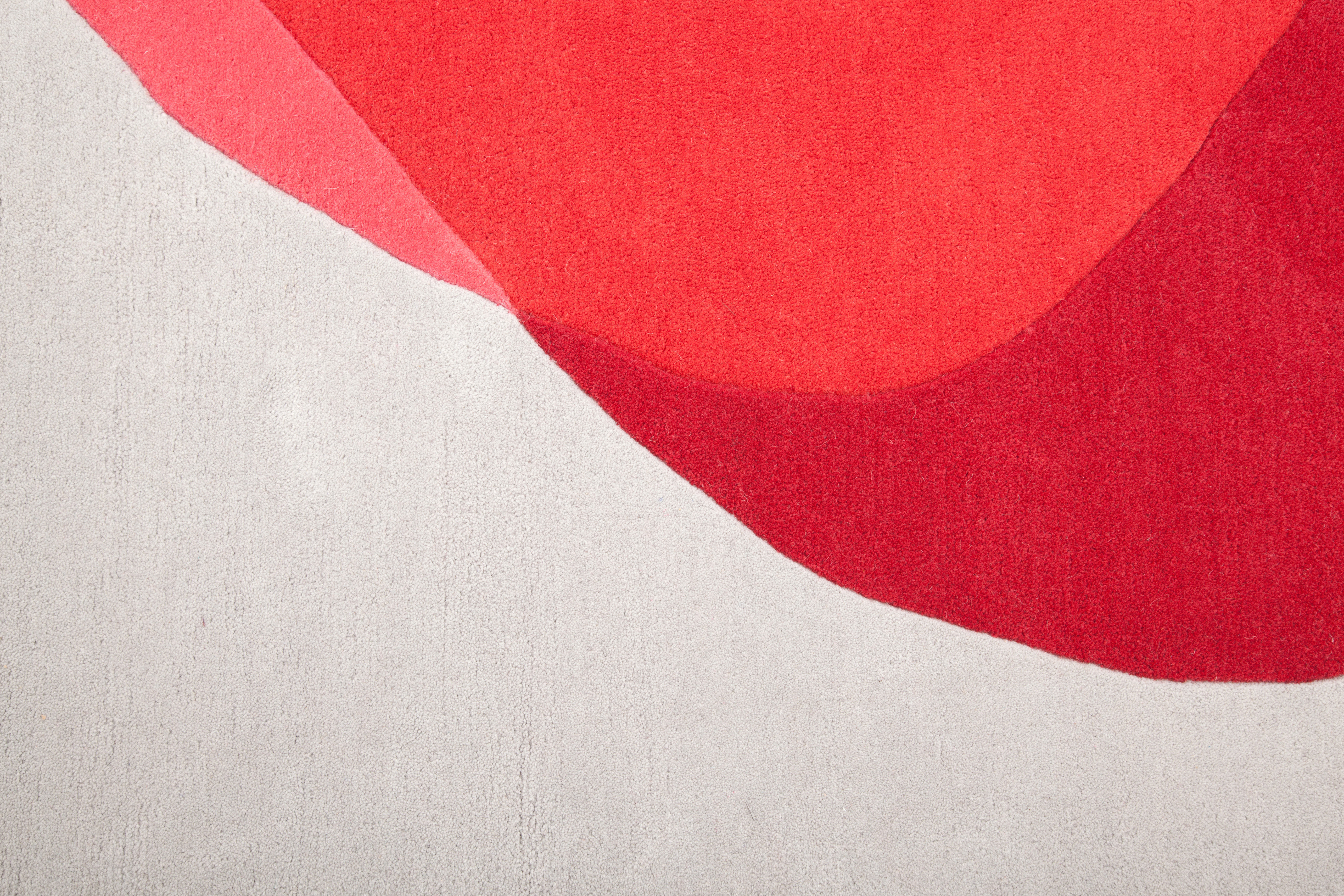 tapis jane 220 x 180 cm rouge gris clair hart. Black Bedroom Furniture Sets. Home Design Ideas
