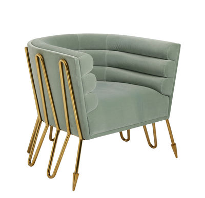 Maxime Club Chair Gepolsterter Sessel / Stoff & Messing - Jonathan Adler - Messing Poliert,Blassgrün