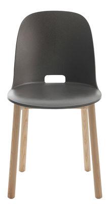 Mobilier - Chaises, fauteuils de salle à manger - Chaise Alfi / Piètements frêne - Emeco - Gris foncé - Fibres de bois, Frêne, Polypropylène