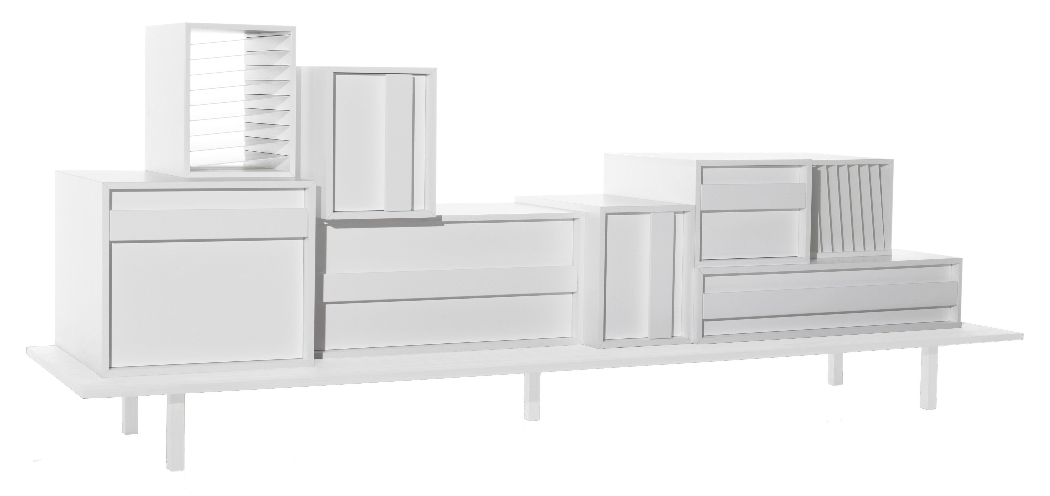 meuble de rangement container l 229 x h 89 cm mdf blanc casamania made in design. Black Bedroom Furniture Sets. Home Design Ideas