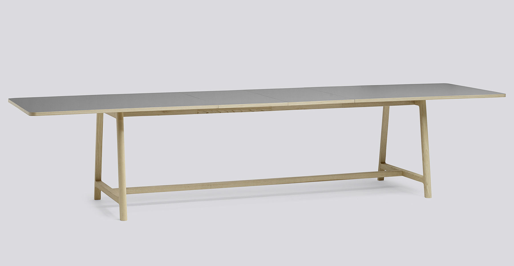 Frame extending table l 200 to 300 cm grey wood legs by hay for Table 300 cm