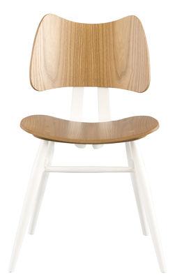 Mobilier - Chaises, fauteuils de salle à manger - Chaise Butterfly / Bois - Réédition 1958 - Ercol - Blanc & Bois - Contreplaqué de orme, Hêtre massif