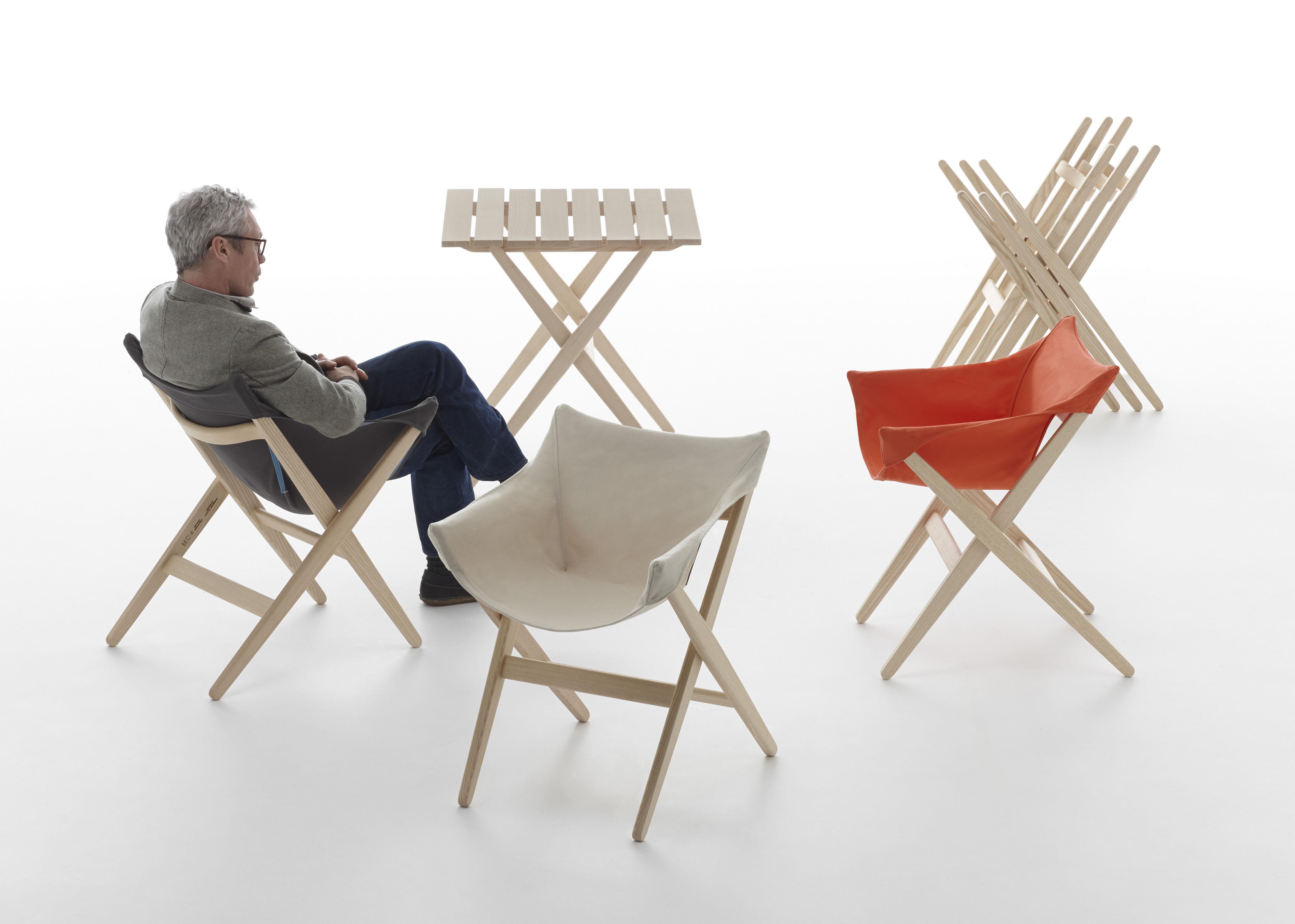fauteuil empilable fionda pour l 39 ext rieur bois tissu teck toile beige mattiazzi. Black Bedroom Furniture Sets. Home Design Ideas