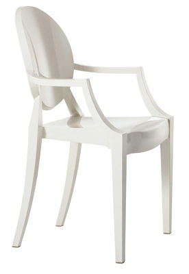 Furniture - Chairs - Louis Ghost Stackable armchair - Polycarbonate by Kartell - Opaque white - Polycarbonate