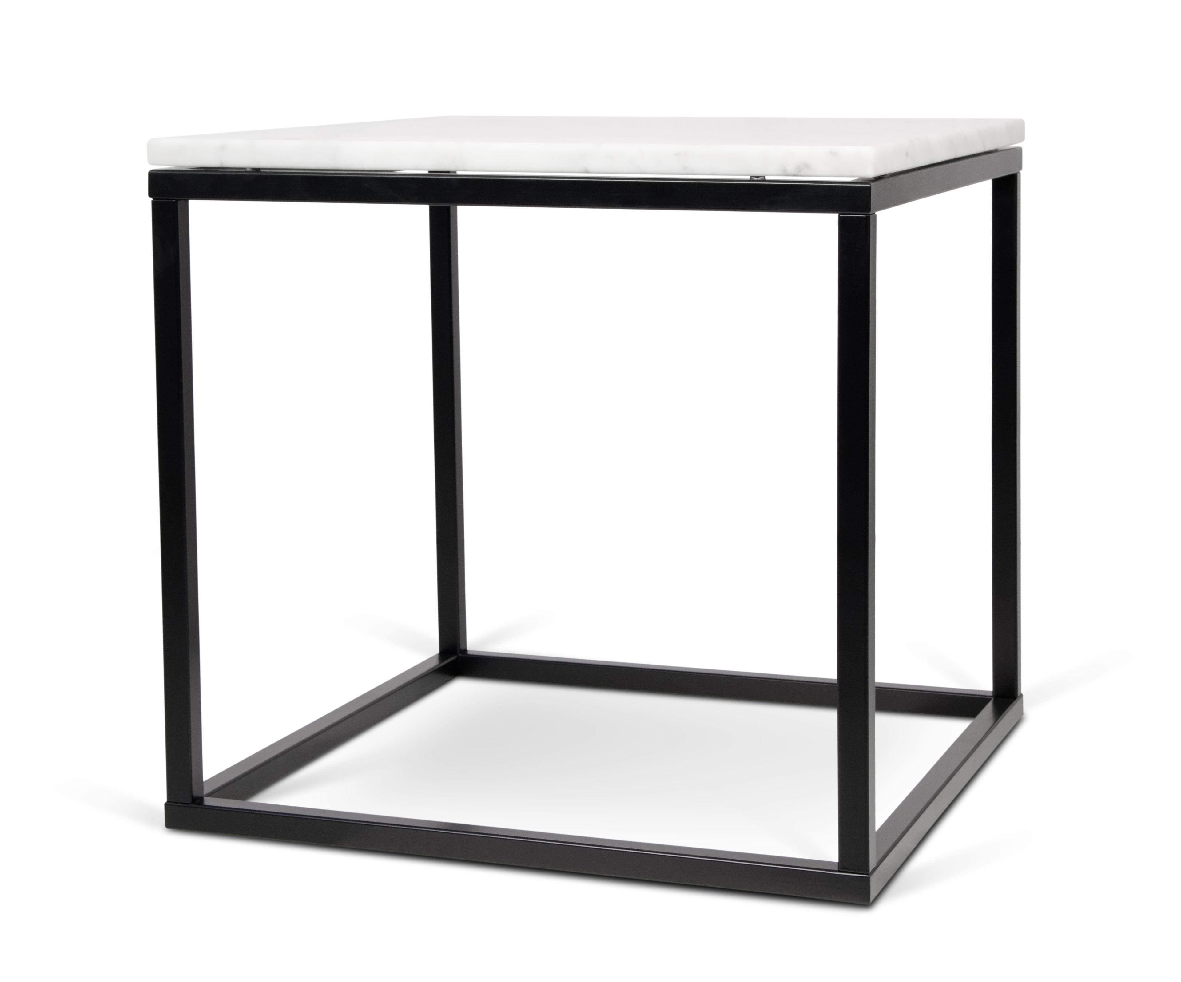 table basse marble marbre 50 x 50cm marbre blanc pied noir pop up home made in design. Black Bedroom Furniture Sets. Home Design Ideas