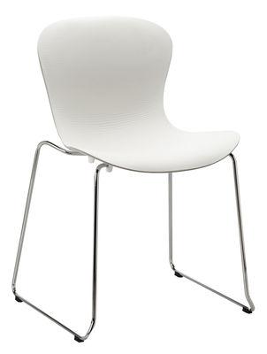 Chaise empilable Nap / Piètement luge - Fritz Hansen blanc,chromé en matière plastique