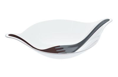 Saladier Leaf L+ / 3 L - Avec couverts - Koziol blanc,noir en matière plastique