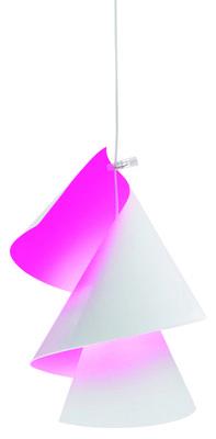 Luminaire - Suspensions - Suspension Willydilly Bon / Bicolore - Ingo Maurer - Blanc/ Intérieur rose fluo - Carton