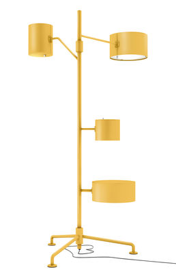 Luminaire - Lampadaires - Lampadaire Statistocrat / H 200 cm - 3 abat-jours + 1 table - Moooi - Jaune - Aluminium peint