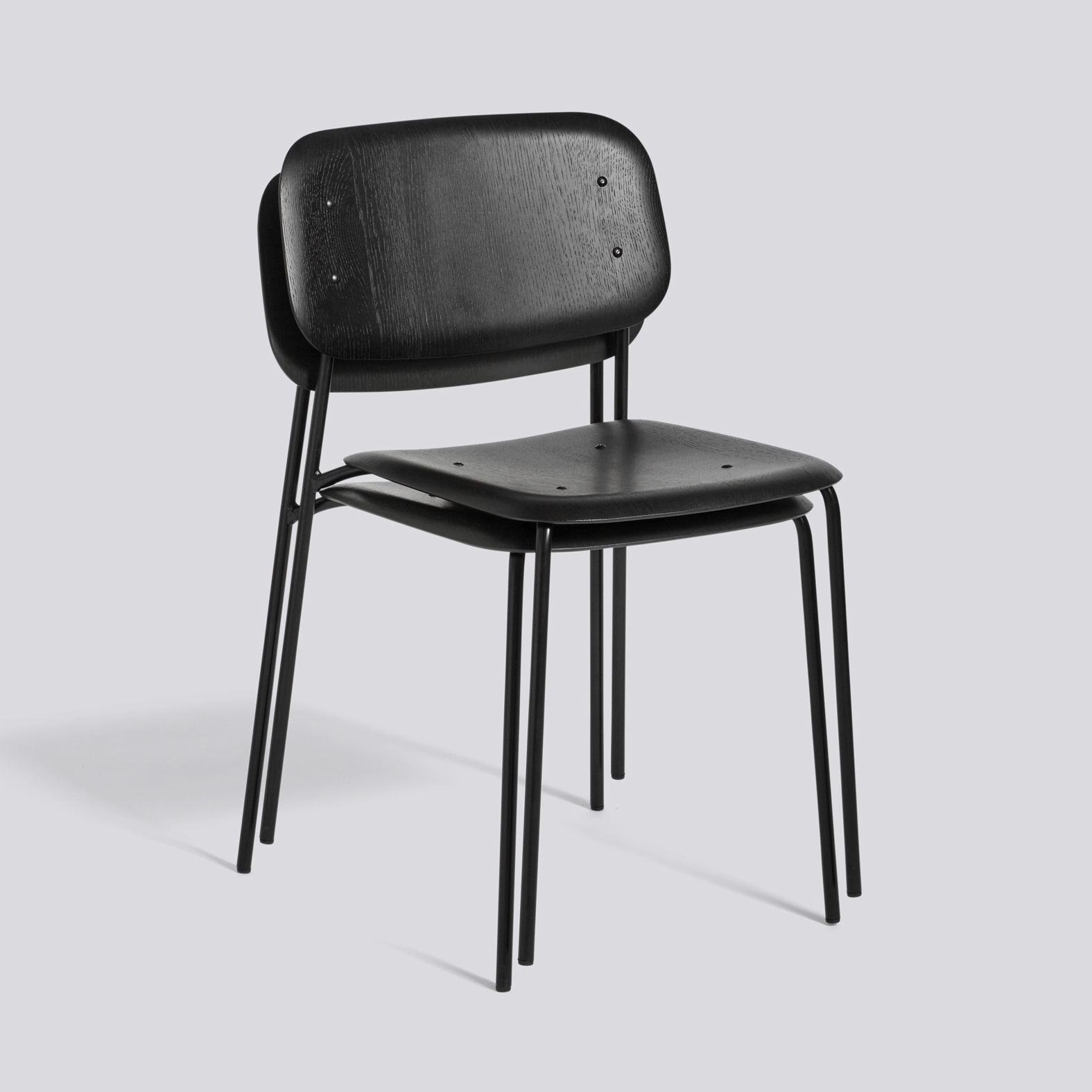 Soft Edge 10 Stacking chair Metal & wood Black by Hay